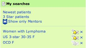 Saved Searches at PatientsLikeMe