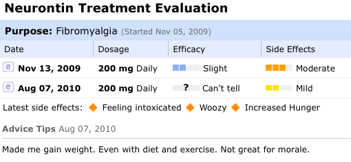 Sample Treatment Evaluation at PatientsLikeMe
