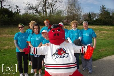 "Pjohns's Walk MS Team with ""Hammy Hog"" of the Rockford Icehogs"