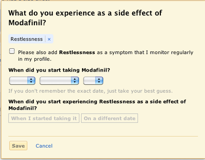 A Popup Window for Entering Side Effects at PatientsLikeMe