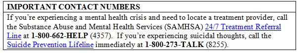 Important Phone Numbers to Have on Hand in the Event of Mental Health Crisis