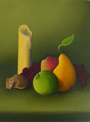 """Autumn Still Life with Mouse"" by PD Artist J. Marley, who learned to paint with his non-dominant hand after developing tremors"