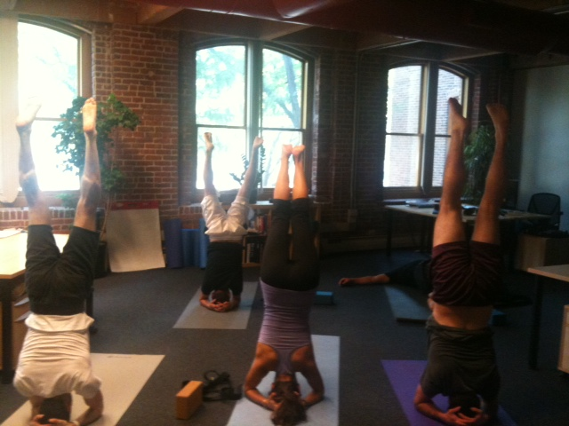 Christine Leading a Yoga Class at PatientsLikeMe Headquarters