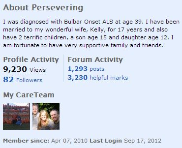 "ALS patient Persevering's CareTeam members (his wife and his sister, respectively) are displayed in the ""About Me"" section of his profile."