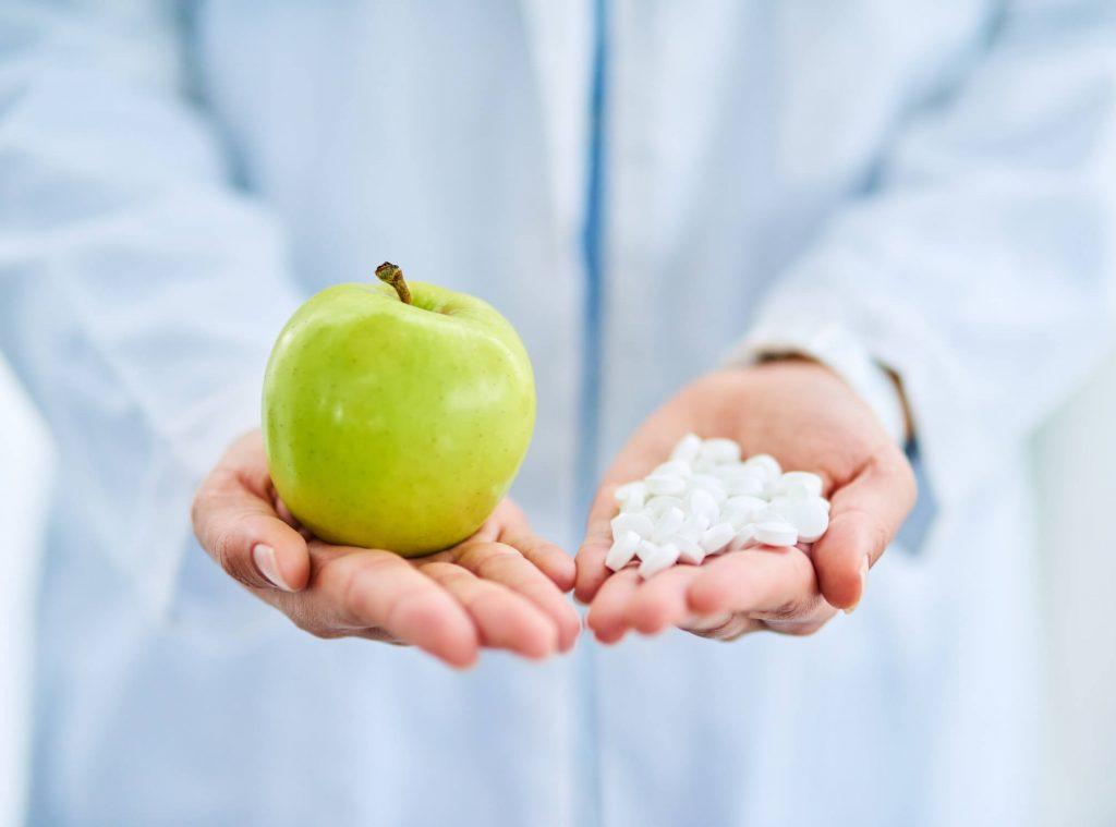Vitamin supplements and apple