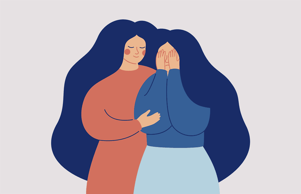 Woman Holding Crying Woman